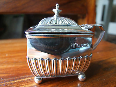 Victorian Hallmarked Silver Lidded Mustard Pot, Rectangular, Clear Glass Liner