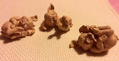 ENESCO SET OF 3 PIGS HAVING FUN ( SIZE 2.25 inches)