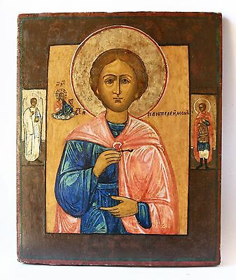 Antique 19th C Russian Hand Painted Icon of St.Pantaleon the Great M. and Healer