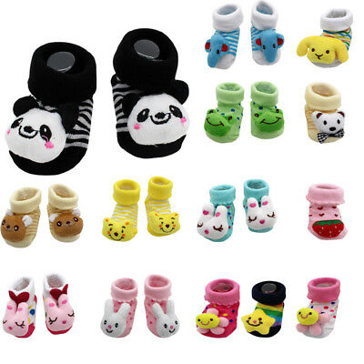 Cute Toddler Kids Baby Girls Boys Cartoon  Anti-Slip Socks Slipper Shoes Boots