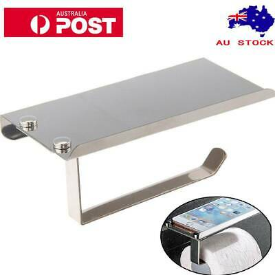 Bathroom Toilet Tissue Stainless Steel Roll Paper Phone Holder Wall Mount Shelf