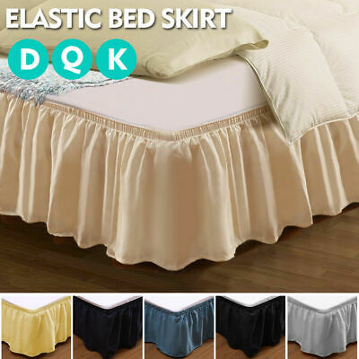 Elastic Bed Skirt Dust Ruffle Easy Fit Wrap Around Double Queen King Size