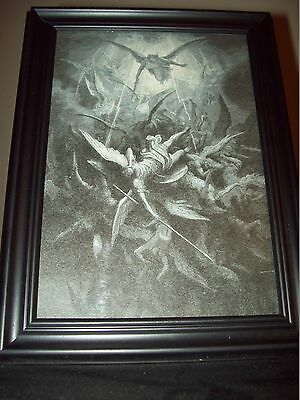 Paradise Lost Framed Religious Illustration by Gustave Dore - War In Heaven 1866