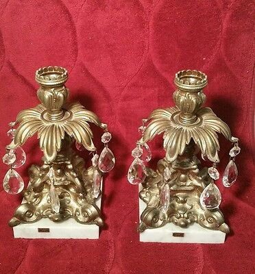 Hollywood Regency Pair Of Candle Holders With Prism ,Marble,Heavy Cast Brass
