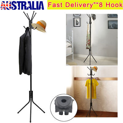 8 Hook Freestanding Hat and Coat Stand Hanging Room Clothes Hanger Steel Black