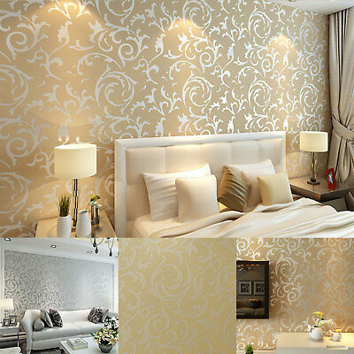 Damask Embossed 3D Feature Wall Paper Wallpaper Roll European Wall Background