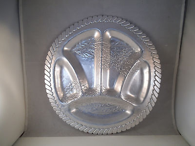 Vintage Farber & Shlevin Aluminum Tray Divided Dish Flower Hand Wrought