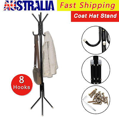 8 Hook Wooden Coat Hanger Stand Hat Bag Clothes Metal Rack Style Storage