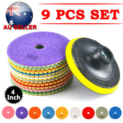 "9PCS 4"" Inch Wet Dry Diamond Polishing Pads For Granite Stone Concrete Marble"