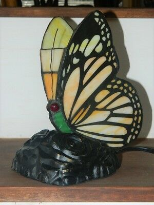 Vintage Tiffany Style Stained Glass Butterfly Accent Lamp Night Light Rose Base