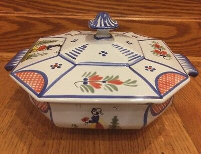 "HB QUIMPER FRANCE Covered SERVING Dish 8"" oct with Lid"