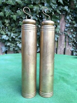 Vintage Brass Cylinder Clock Weights, Vienna Grandfather