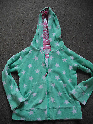 Mini Boden girls green star towelling hoodie size 6-7 years