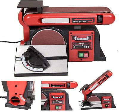 Heavy Duty Bench Top Belt and Disc Sander Linisher with Cast Iron Base 370w 230v
