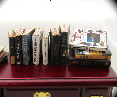 10 ART HISTORY Miniature Books Set 1:12 Scale Dollhouse Prop Faux Books