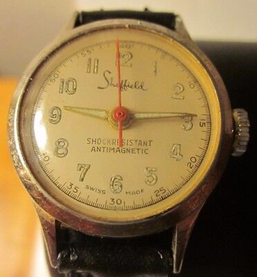 Vtg Sheffield Shockresistant Antimagnetic Swiss Made Watch For Repair Or Parts