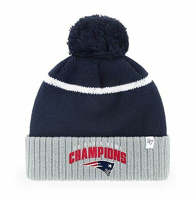 45f2768d5 New England Patriots Super Bowl 51 Champions Pom Knit Hat 5X Champs by 47  Brand