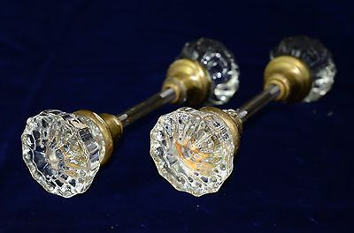 Two Full 12 Point Glass Door Knobs with Brass Hardware in great shape!