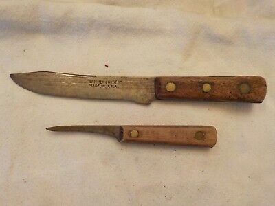 Two Vintage Antique Knives One Marked Hand Forged Made In Usa