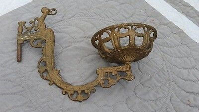 Antique Early Century Victorian Cast Iron Wall Mount Sconce Oil Lamp Single Gold