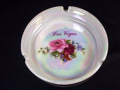 Las Vegas souvenir round ceramic ashtray pearly finish with pink & red roses 4""