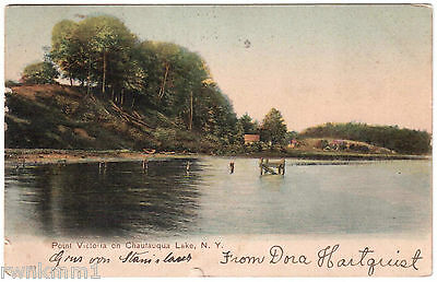 AK US USA Post Card Point Victoria an Chautauqua Lake gel. 1906 n. Selbitz