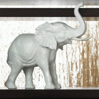 White Ceramic Standing Lucky Elephant Figurine Statue