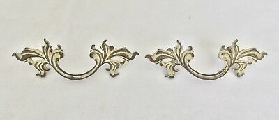 2 Vtg French Provincial Dresser Drawer Pulls Ornate Handles Brass White 5 7/8""