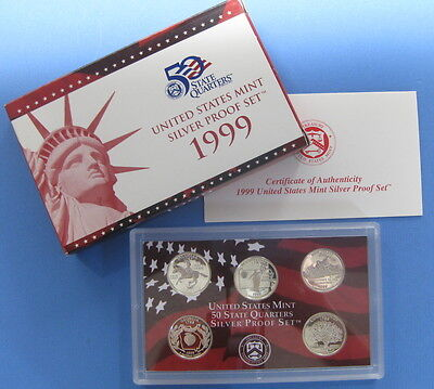 1999 Silver State Quarter 5pc set with Government Packaging & COA