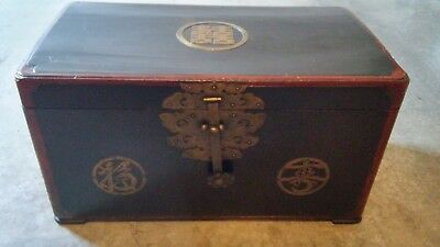 Vintage Oriental Woodn Trunk Chest with Brass Lock and Handles