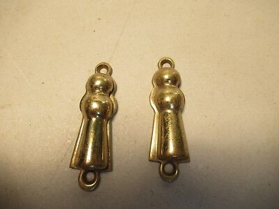 Solid Brass Skeleton Key Hole Trim Covers Lot Of 2 Old Door Cabinet Hardware
