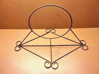 Vtg Antique Hand Wrought Iron Plant Holder Wall Mounted Shelf Victorian RUSTIC!