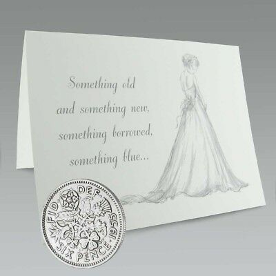 Great Britain 6 Pence Wedding Coin on card for the Bride