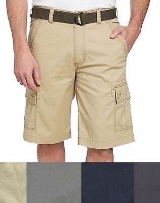 SALE! NEW Wearfirst Men's Free-Band Belted Cargo Shorts SIZE & COLOR VARIETY