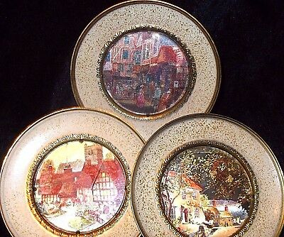 "Vintage SOLID BRASS 5.5"" Set of 3 Decorative PLATES Hanging WALL ART ENGLAND"