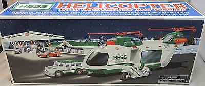 2001 Hess Helicopter with Motorcycle and Cruiser in Box