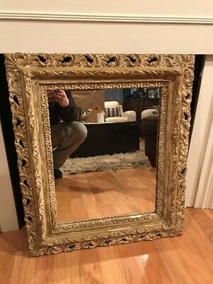 "VINTAGE VICTORIAN STYLE GILT WOOD/GESSO FRAME WALL MIRROR 28"" x 24"""
