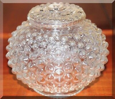 VINTAGE HOBNAIL Light Fixture Shade Globe Clear Glass Pointed Spikes Round 5.5in