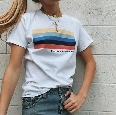 6cd60f3b Brandy Melville white rainbow Aleena BIARRITZ FRANCE 1990 graphic top NWT
