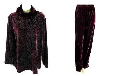 Coldwater Creek Medium Velvet Turtleneck Top & Pant Set Maroon Shimmer Floral