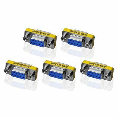 5 X 9Pin RS-232 DB9 Female to Female Serial Cable Gender Changer Coupler Adapter