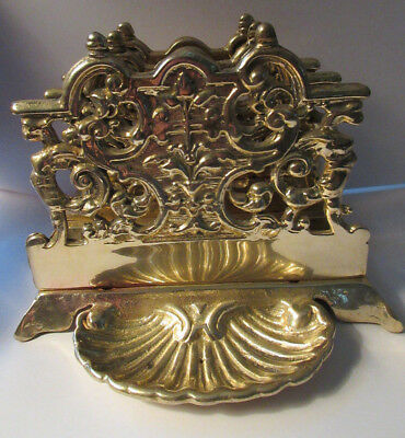 Antique Vintage Brass Victorian Fancy Envelope Letter Napkin Holder Shell Tray
