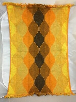 Vintage 1970s Hand Towel Brown Yellow Orange Teardrop Bathroom Mod Retro Hippie
