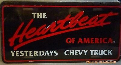 The Heartbeat Of America Yesterdays Chevy Truck  License Plate Pickup Trucks Us