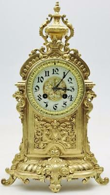 Superb Antique 19thc French 8 Day Ornate Pierced Embossed Bronze Mantel Clock