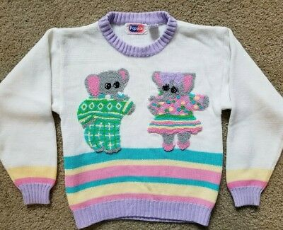 Vintage Totally 80's Girls Popsicle Brand Elephants Sweater Size 5