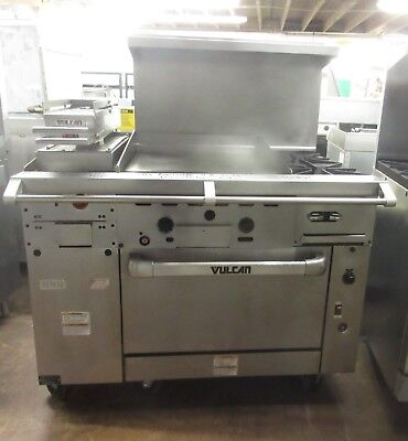 """Vulcan 48"""" Range 2 Burner 24"""" Flat Grill Clamshell Griddle Convection Oven"""