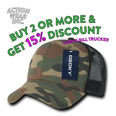 563109a8 Decky Men's Mesh Hat Trucker Hats Snapback Cap Curved Bill Caps Plain Camo  Bdu