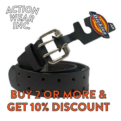 Dickies Belt Men's Leather Belt Heavyduty Two Hole Double Prong Bridle Work Belt