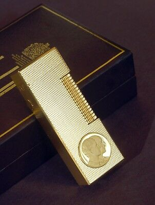 Rare Charles And Diana 1981 Commemorative Gold Rollagas Dunhill Lighter - Ltd Ed